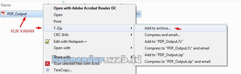 Kompres file PDF pakai 7 Zip