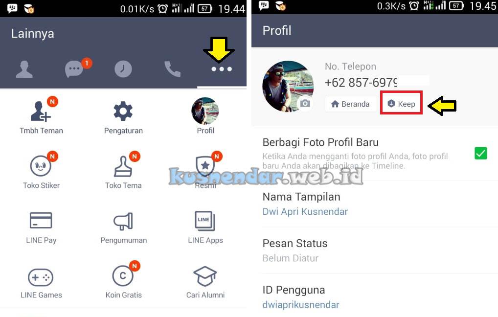 Letak Menu Keep di LINE Android