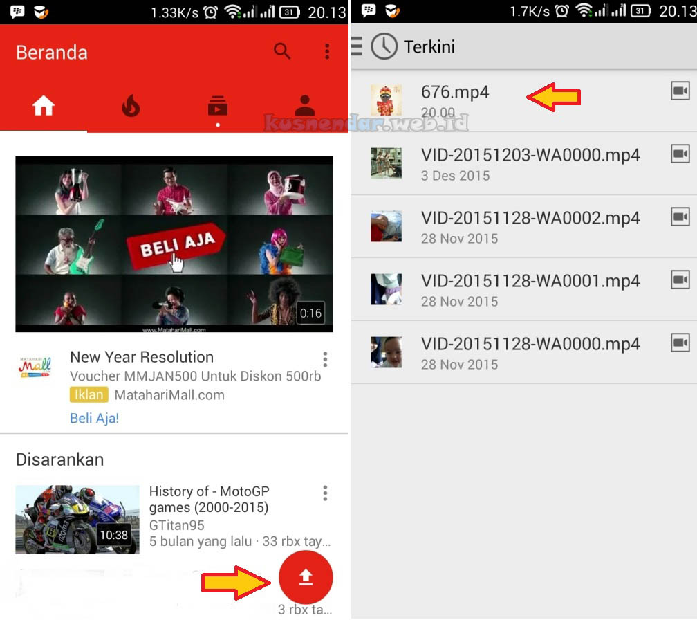 Video Terupload ke Youtube Android