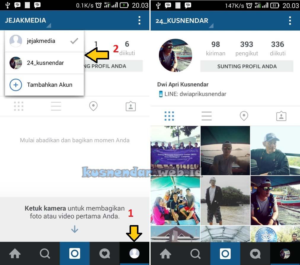 Ganti akun instagram