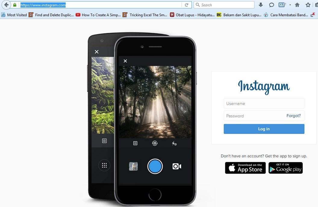 Login Instagram di browser PC