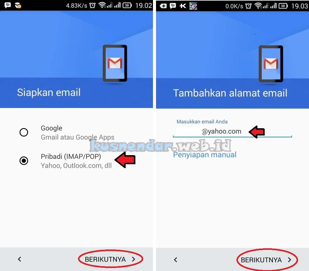 Menambahkan Yahoo di Gmail Android