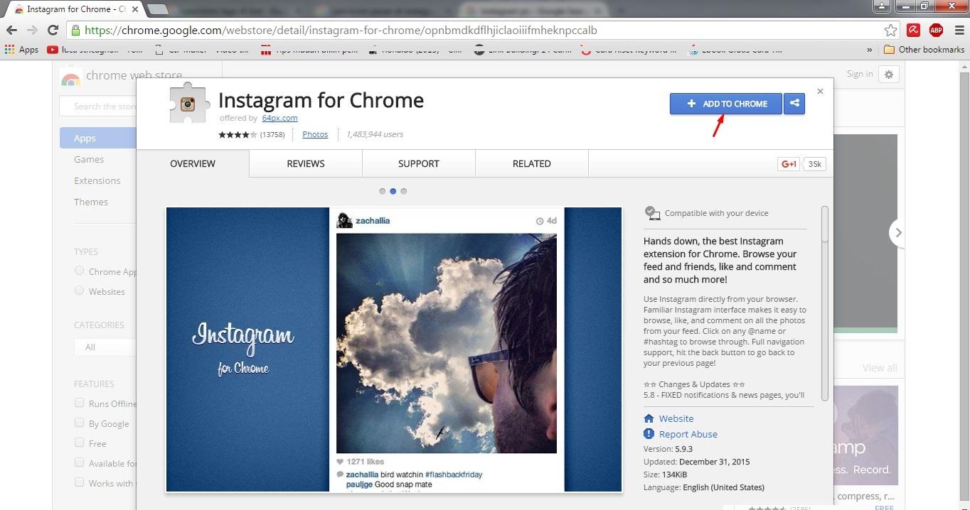 install addon Instagram di PC
