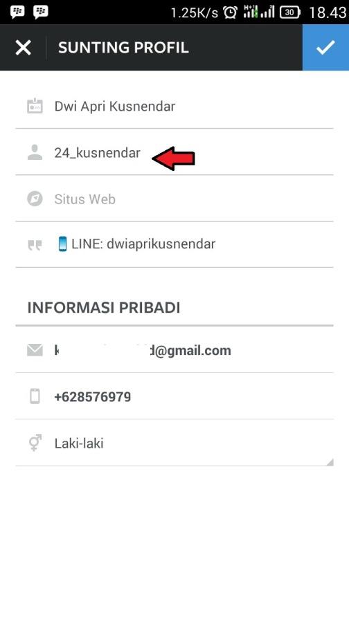 letak username Instagram