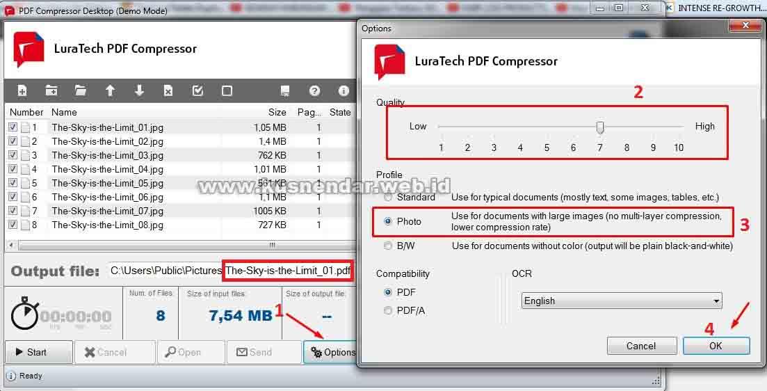Compress JPeg to PDF