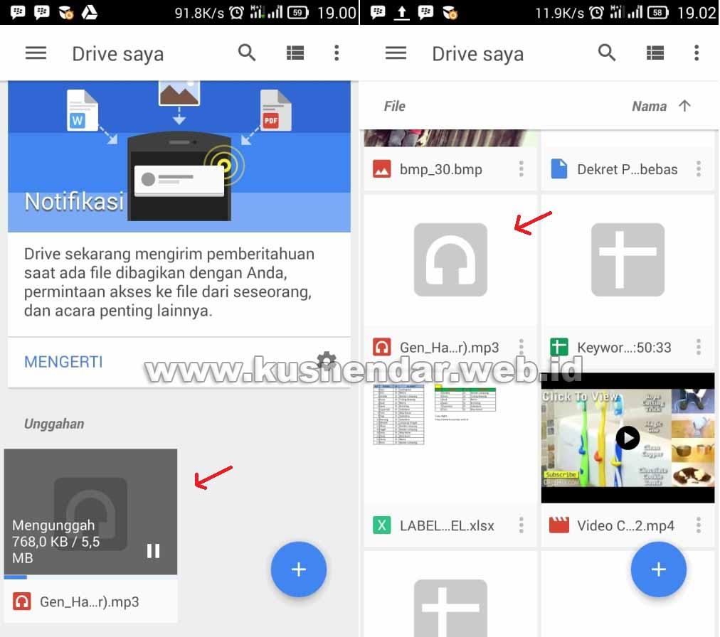 Upload File Lagu MP3 di Google Drive