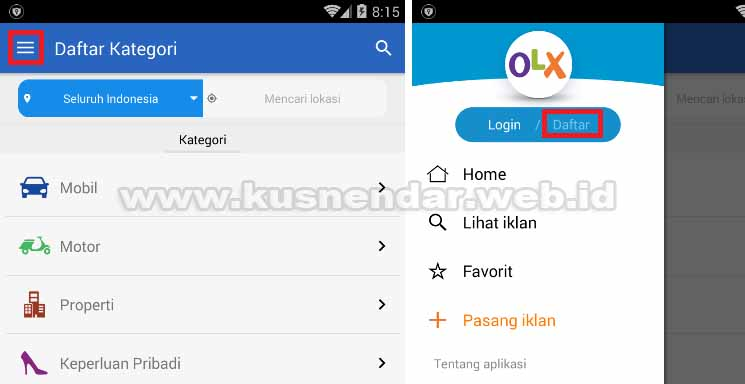 Daftar Register OLX Android