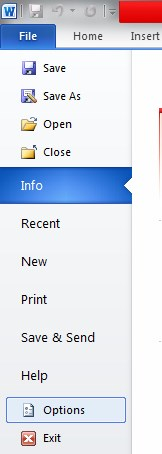 Word Options 2010