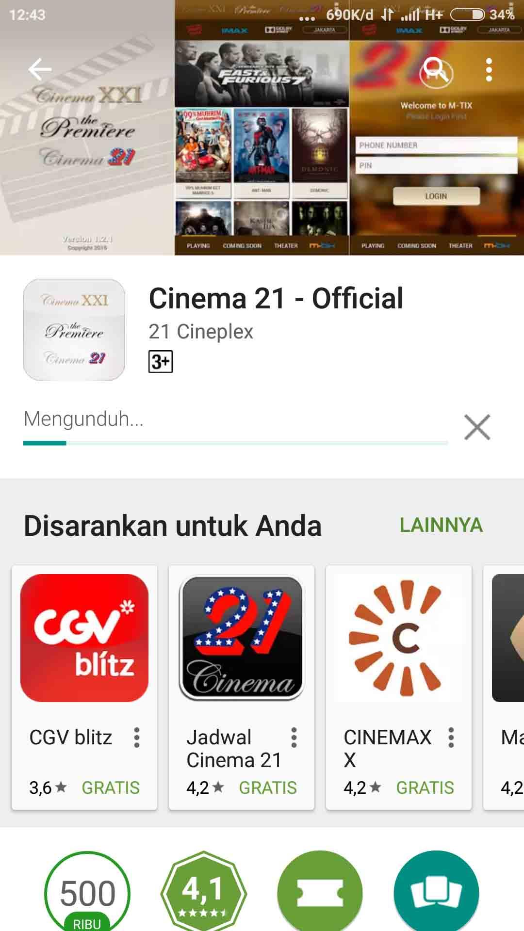 Download Aplikasi Cinema 21