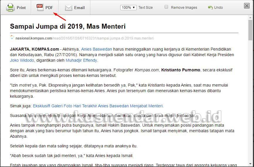 Download Halaman Web ke PDF di Chrome