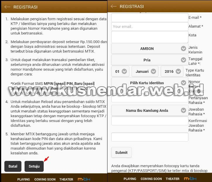 Form Daftar MTIX Android