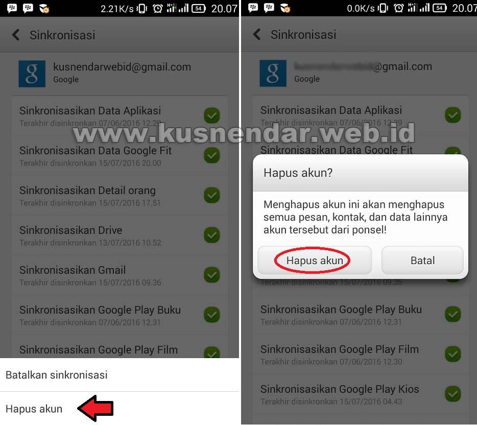 Hapus akun GMail di Android