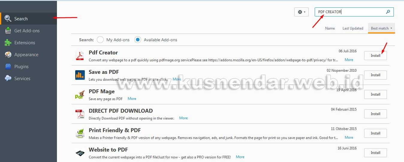 Install Add on PDF Creator