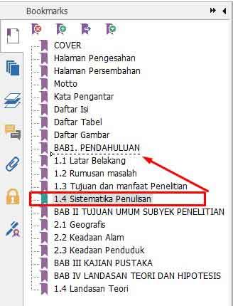Membuat subbab bookmark PDF