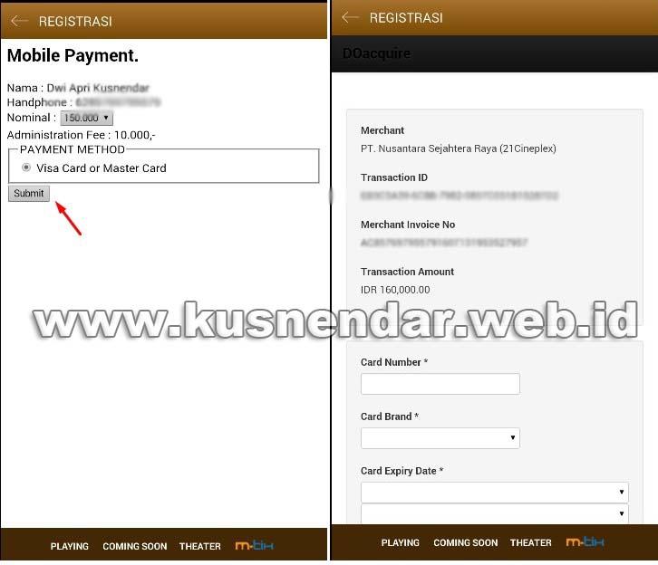 Pembayaran MTIX di Android