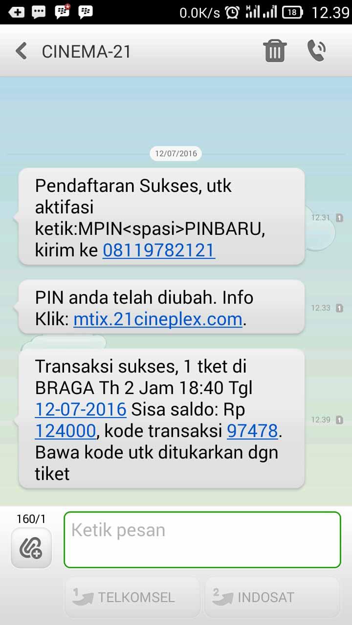 SMS Beli Tiket Bioskop Online