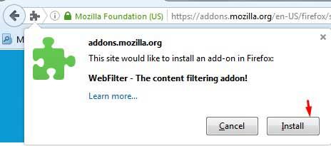 Install add on WebFilter Mozilla
