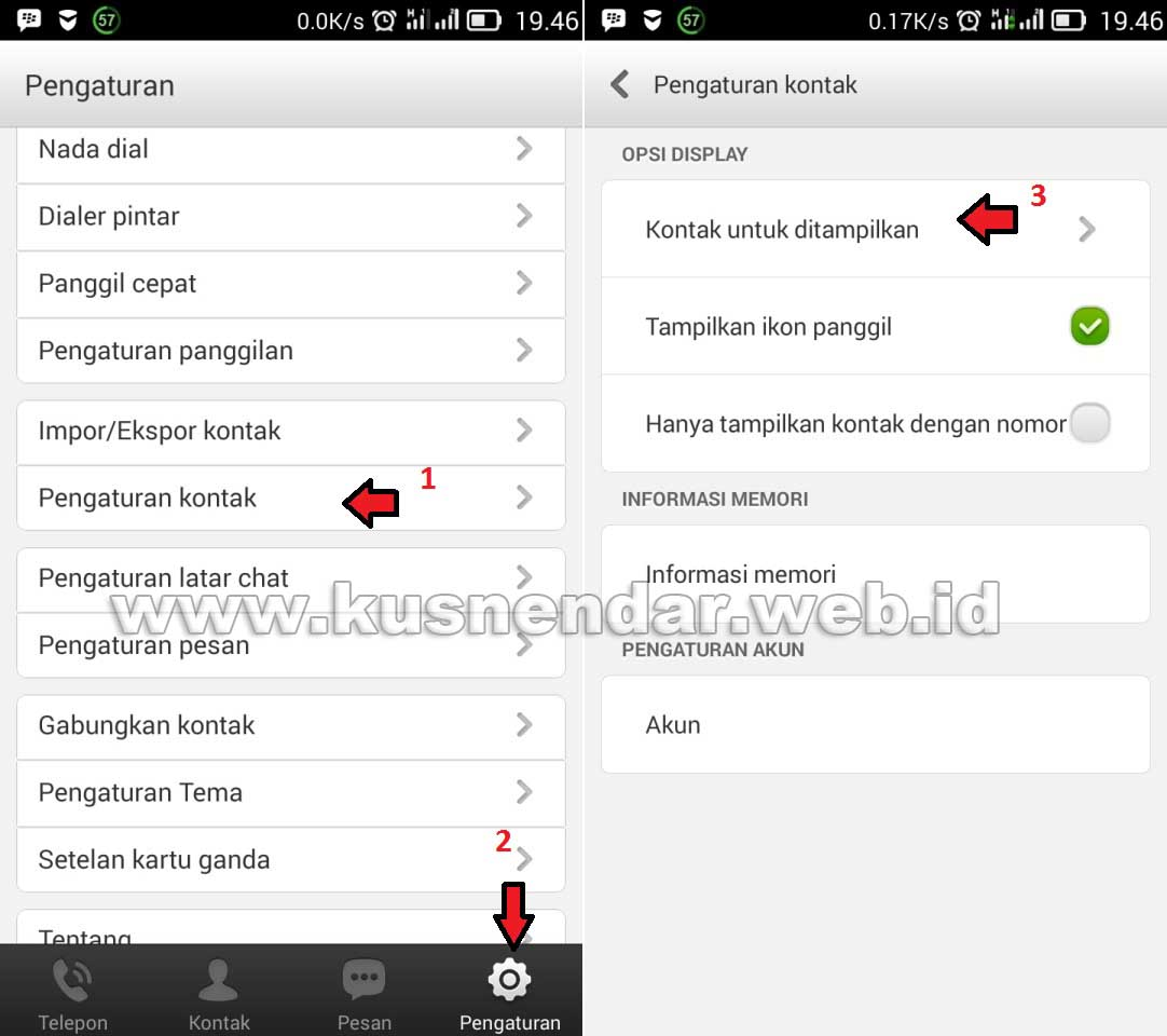 Pengaturan Kontak No HP Android