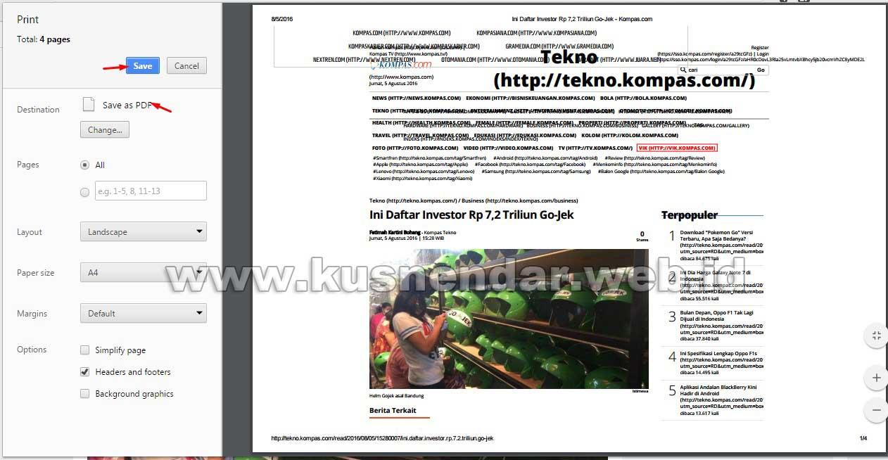 Print Halaman Web  di Chrome