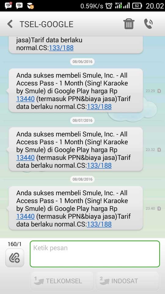 SMS Potong Pulsa SMule