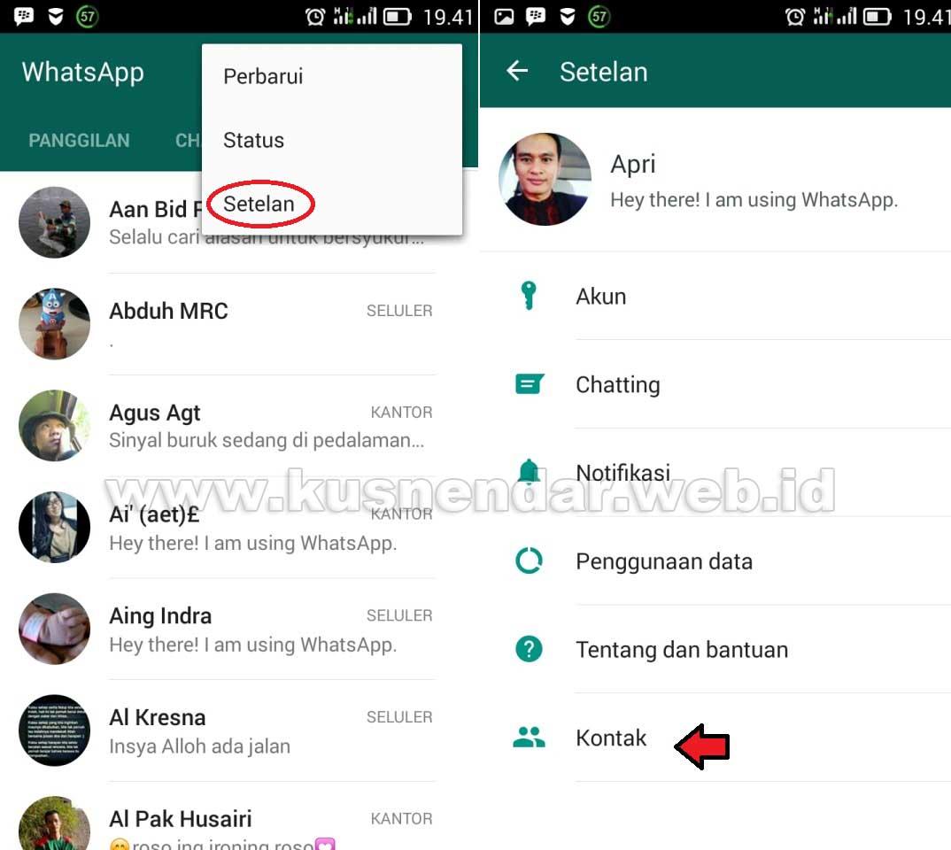 Setting Kontak Whatsapp
