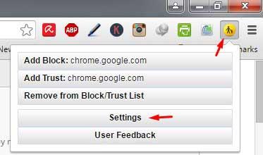 Settings WebFilter Menu Chrome