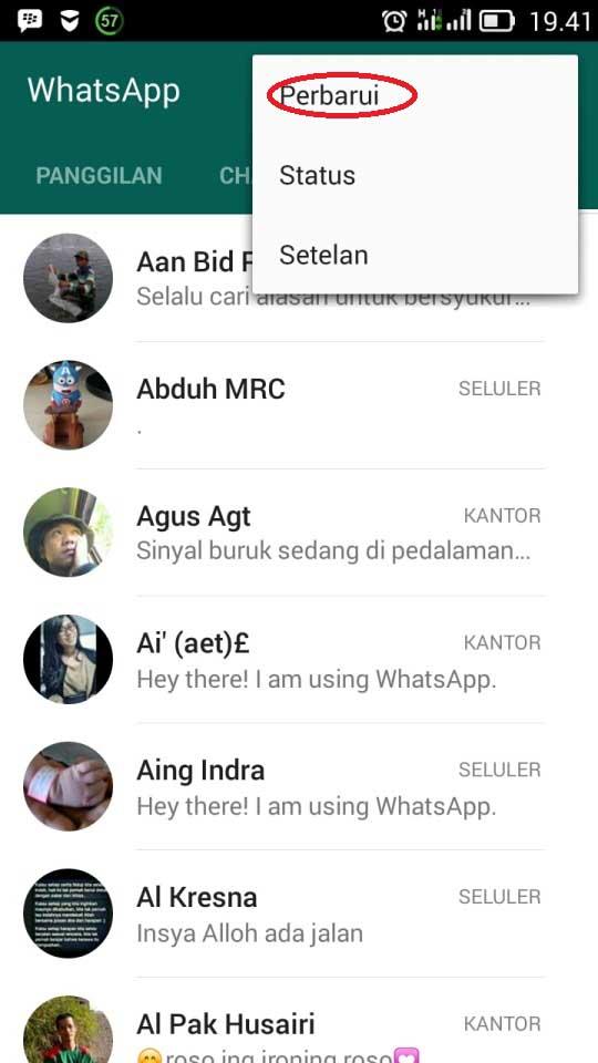 Update Kontak Whatsapp