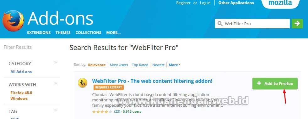 WebFilter Add to FireFox