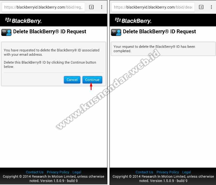 Menghapus Blackberry ID