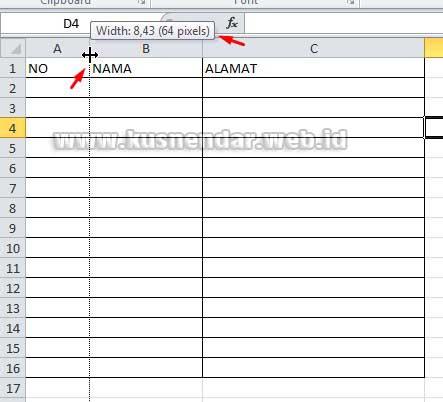 Mengatur ukuran lebar tabel di excel